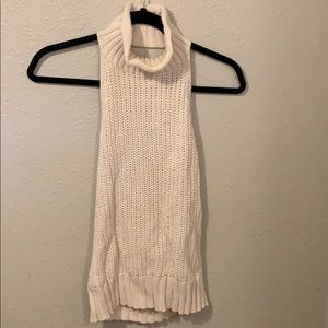Kendall and Kylie cream sleeveless turtleneck knit